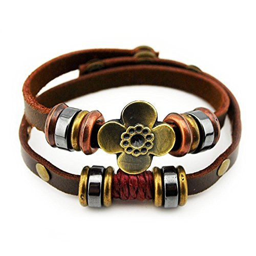 [BMALL Leather Bracelet Alloy Beads Vintage Flower Snap Button Christmas Wrap Bracelet] (Rock And Roll Costume Ideas For Men)