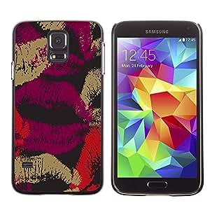 X-ray Impreso colorido protector duro espalda Funda piel de Shell para SAMSUNG Galaxy S5 V / i9600 / SM-G900F / SM-G900M / SM-G900A / SM-G900T / SM-G900W8 - Love Lips Purple Black Red Dark