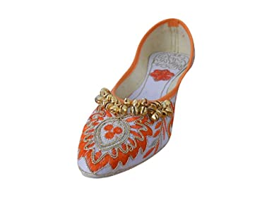 Traditionelle indische Samt mit Stickerei Damen Ballerinas, Multi Color - Größe: 41,5 EU Kalra Creations