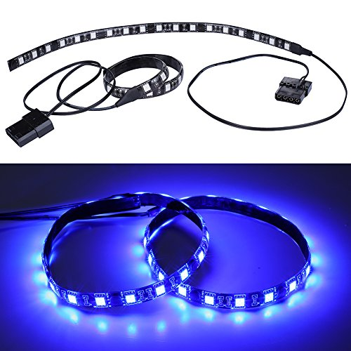 LEDdess PC LED Flexible Light Strip Blue Computer Lighting with Magnetic for Computer Case Lights Kit(30cm,18leds,S Series) (Plastic Led Computer Case)