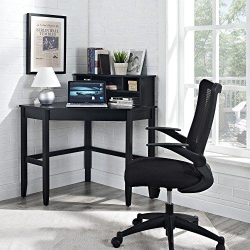 Desk Optional Hutch (Corner Laptop Writing Desk - Black)