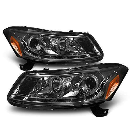 (For Honda Accord Smoked Smoke Dual Halo Ring DRL LED Strip Projector Headlights Front Lamps Replacement)