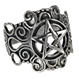 Large Sterling Silver Ornate Pentacle pentagram Ring Pagan Wiccan Jewelry (sz 4-15) sz 10