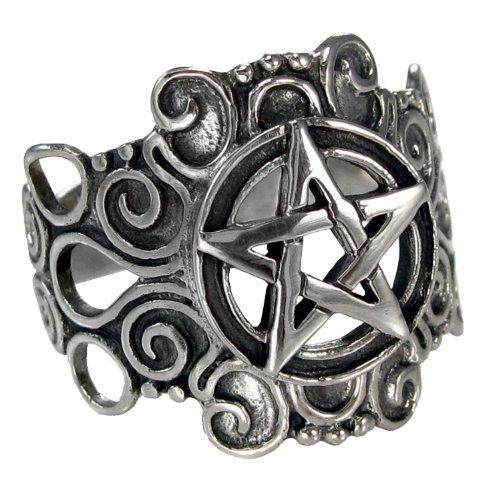 Large Sterling Silver Ornate Pentacle pentagram Ring Pagan Wiccan Jewelry (sz 4-15) sz 8 - Sterling Silver Pentacle Ring