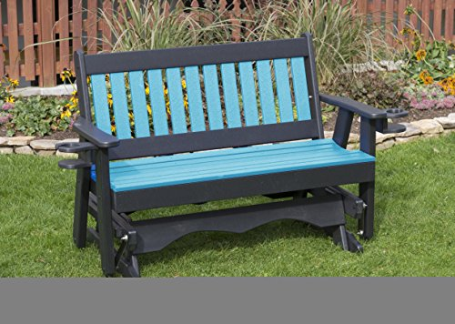 5FT-ARUBA BLUE-POLY LUMBER Mission Porch GLIDER with Cupholder arms Heavy Duty EVERLASTING PolyTuf HDPE - MADE IN USA - AMISH CRAFTED (Hdpe Lumber)