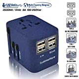 Power Plug Adapter - International Travel (Sand Blue)- w/4 USB Ports Work