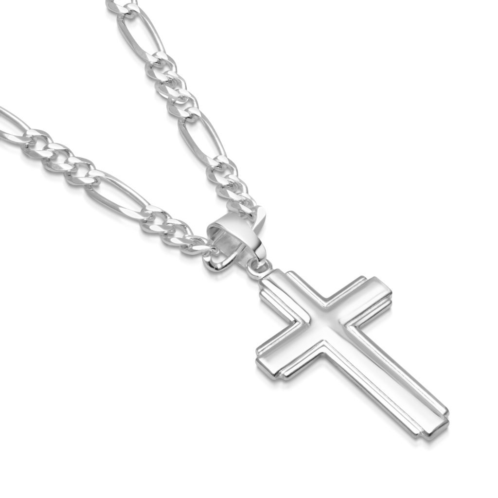 Mens Sterling Silver Cross Pendant Figaro Chain Necklace Italian Made - 4mm - 22 Inch