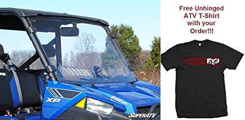 Bundle: 2 Items Polaris Ranger Fullsize 570/900 Scratch Resistant Vented Full Windshield and Unhinged ATV T-shirt (2X T-Shirt)