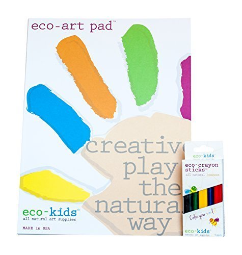 Eco-Kids Non-Toxic Art Pad and 5 Pack Natural Eco Crayon Sticks Set made in New England