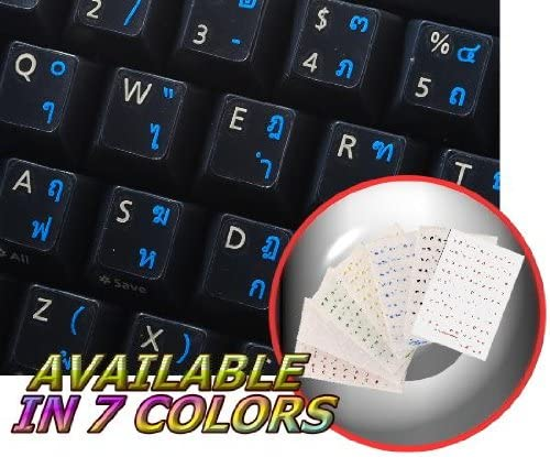 LAPTOP AND NOTEBOOK THAI KEYBOARD STICKER WITH BLUE LETTERING ON TRANSPARENT BACKGROUND FOR DESKTOP