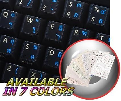 Diseño de etiquetas sobre fondo transparente de teclado tailandés con negro, azul, verde,