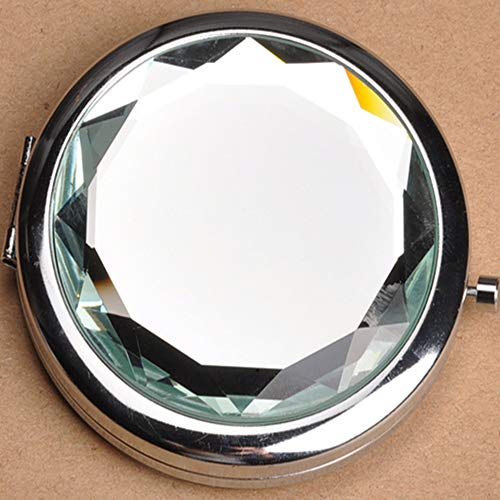 Double Compact Cosmetic Makeup Round Pocket Purse Magnification Jewel Mirror for Woman, Mother, Girls, Great Gift( Come with Pink box)- Clear