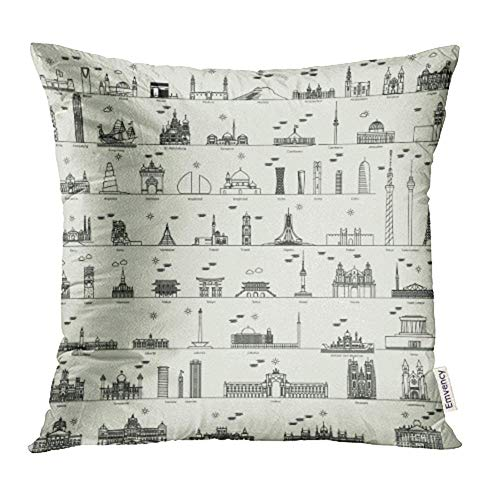 HFYZT Throw Pillow Case Cushion Cover Skyline Line Capital City Collection Damascus Baghdad Madrid Doha Bandar Begawan 18x18 Inch Cases Square Pillowcases Covers for Sofa Two Sides Print