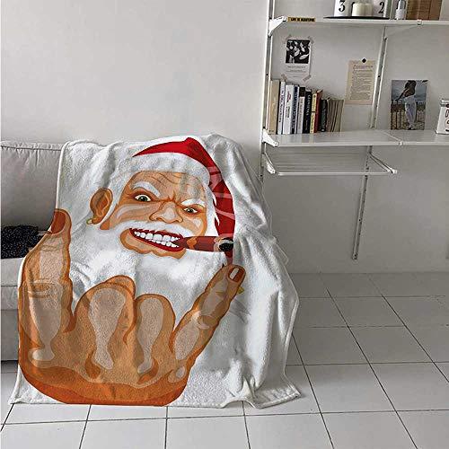 maisi Christmas Lightweight Blanket Santa Claus Making Mouse Rocker Gesture Smoking A Cigar Noel Humor Celebration Digital Printing Blanket 50x30 Inch Multicolor