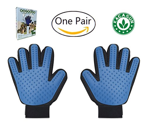 KACASUN Deshedding And Grooming Glove For Dogs And Cats - One Pair - Gentle And Efficient Pet Hair Removal glove - Perfect For Short, Medium And Long Hair Pets