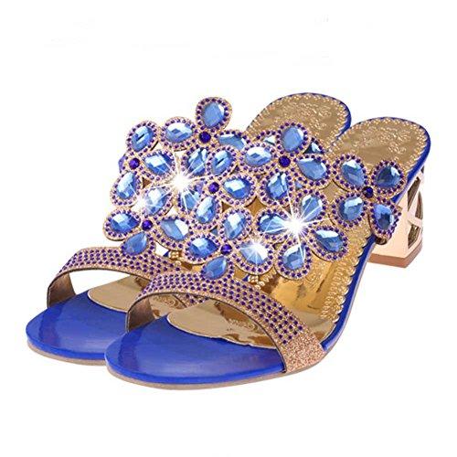 Baigoods SWomen Summer Fashion Flip Flops High Heel Sandals Fat Girls Rhinestone Crystal Wedges Shoes (US:6.5, Blue)