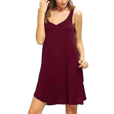 ❤️ Vestido Mujer Verano, Casual sólido para Mujer sin Mangas Corto Mini Vestido Chaleco Verano Playa Tops Largos Camiseta Absolute (XL, Vino): Ropa y accesorios