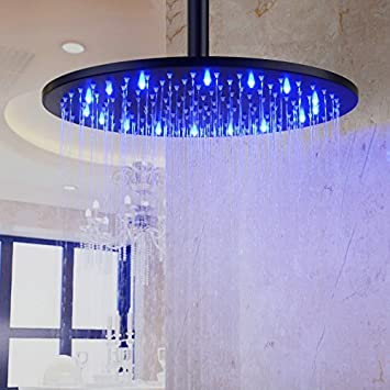 oil rubbed bronze led rain shower head. Hiendure  12 inch Stainless Steel Round Rain Shower Head with 3 Colors Temperature Sensitive