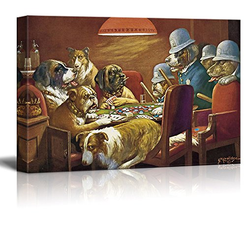 Dogs Playing Poker Series Pinched With Four Aces (Four Policemen) by by C M Coolidge