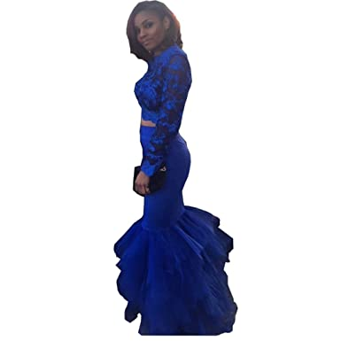 e5e1387d3ef Chady Royal Blue Mermaid Prom Dress 2019 Ruffles Train Two Piece Prom Dress  Long at Amazon Women s Clothing store