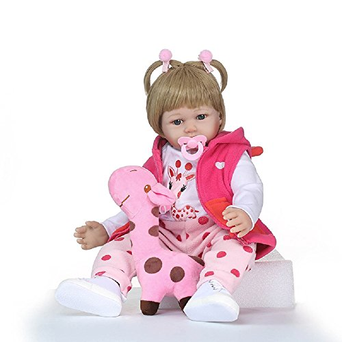 NPKDOLL Lovely Rebron Doll 24inch 60cm Soft Simulation Silicone Boy Girl Baby Ragdoll for Children Pink Giraffe Lovely Doll a296