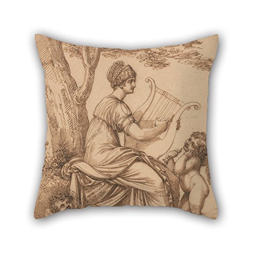 Elegancebeauty Throw Pillow Case Of Oil Painting Maria Hadfield Cosway - Sappho,for Dinning Room,kids Room,her,deck Chair,car Seat 18 X 18 Inches / 45 By 45 Cm(both (Rage Rubber Wig)