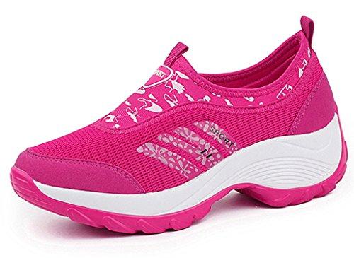 DADAWEN Women's Slip-On Platform Fitness Work Out Sneaker Rose Red US Size 5.5/Asia Size 36