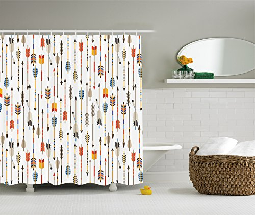 - Ambesonne Arrow Decor Collection, Colorful Indian Arrows Native Style Artwork for Hunters Image Print, Polyester Fabric Bathroom Shower Curtain Set with Hooks, Orange Yellow Blue