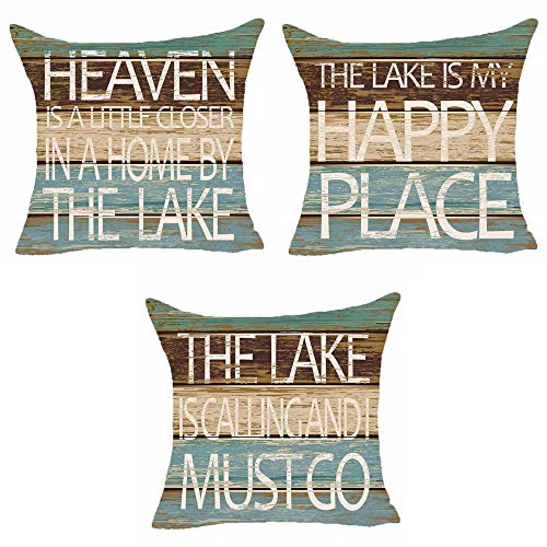 SOPARLLY Set of 3 Summer Words The Lake Is My Happy Place Heaven Is A Little Closer In A Home By The Lake Pillows Cotton Linen Decorative Home Office Throw Pillow Case Couch Cushion Cover 18X18 Inches (Pillows Throw Lake)