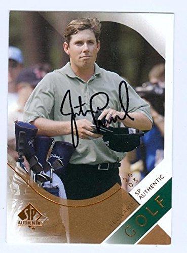 Justin Leonard autographed Golf trading card 2003 Upper Deck Golf #8spa Autographed Golf Cards