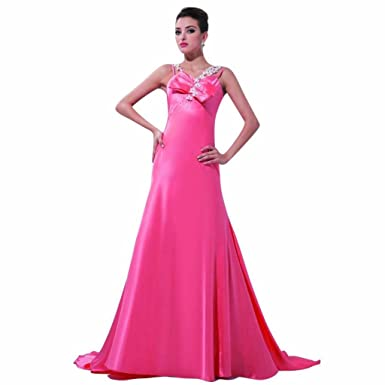Dearta Womens A-Line V-Neck Court Train Evening Dresses US 2 Fuchsia