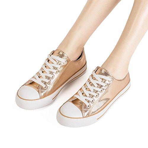 ZGR Damen Fashion Canvas Sneaker Low Cut High Cut Spitze UPS Freizeitschuhe Roségold 1