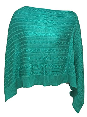 Lauren Ralph Lauren Womens Cable Knit Ribbed Poncho Sweater Green O/S (Poncho Ribbed)