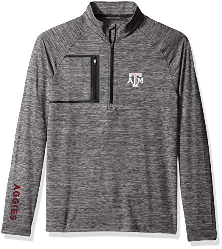 Levelwear LEY9R NCAA Texas A&M Aggies Adult Men Vault Wordmark Quarter Zip Mid-Layer, Large, Heather Charcoal/Black