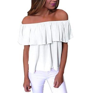 Manadlian Femmes T-Shirt, Femmes Hors épaule Manches Longues Blouse ... e5afb699940f