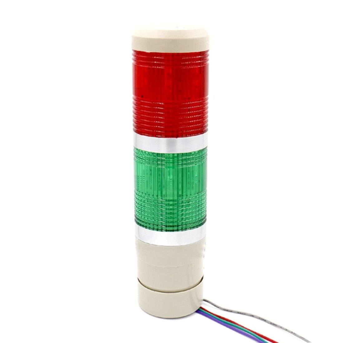 Baomain Industrial Signal Light Column LED Alarm Round Tower Light Indicator Continuous light Warning light Red Green DC 24V