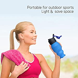Collapsible Water Bottle 18oz, YUANFENG Leak Proof BPA Free Silicone Foldable Sports Outdoor Travel Water Bottles (Blue)