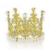 Round Mini Rhinestone Crown Pearl Crystal Princess Crown Bridal Wedding Newborn Baby Crown Silver