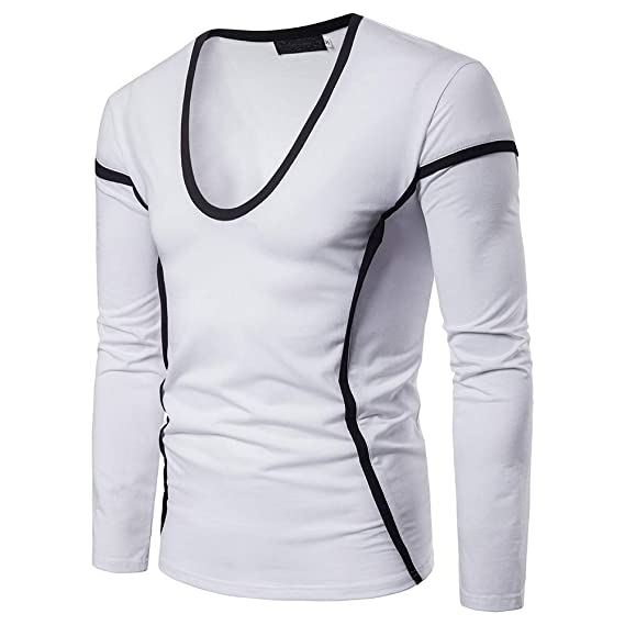 Camiseta de Manga Larga con Cuello en V para Hombre, Casual, de Cuello Alto