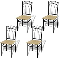Festnight Set of 2/4 Dining Chairs with Sturdy Steel Frame, 15 x 17.3 x 36.2 , Light Brown+ Black