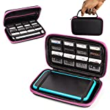 2DS XL Case, Orzly Carry Case for New Nintendo 2DS XL - Protective Hard Shell Portable Travel Case Pouch for New 2DS XL Console with Slots for Games & Zip Pocket - PINK on Black
