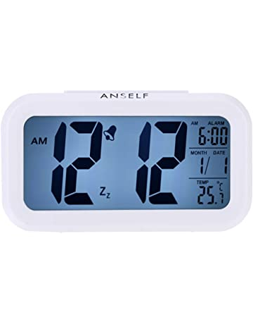 Anself LED Digital Alarma despertador Reloj Repetición activada por luz Snooze Sensor de luz Tiempo Fecha