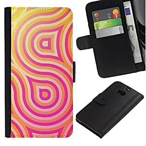 A-type (Pink Yellow Lines Pattern Swirl Sun) Colorida Impresión Funda Cuero Monedero Caja Bolsa Cubierta Caja Piel Card Slots Para HTC One M8