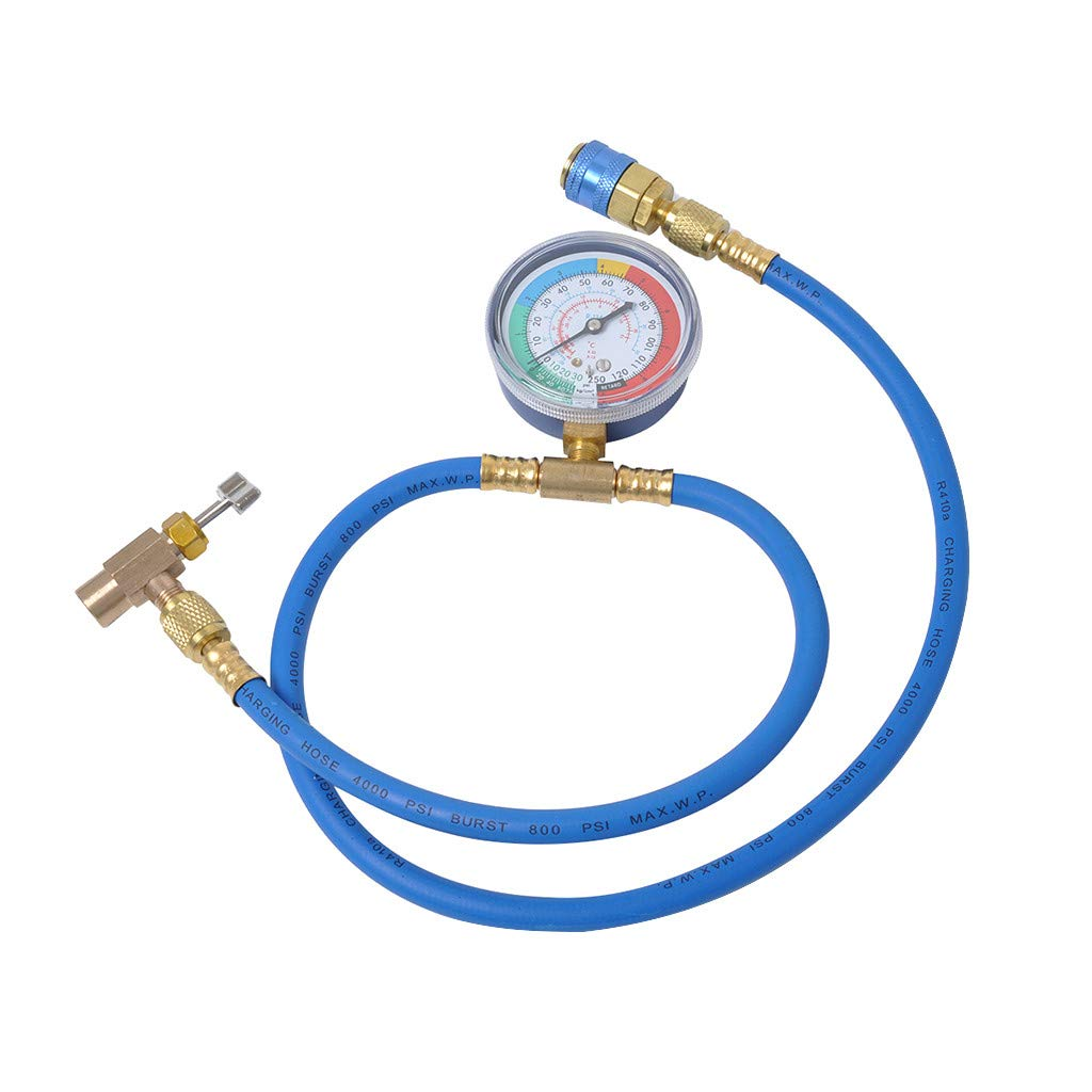TADAMI R134A Gauge, Car Auto Air Conditioning R134A Refrigerant Recharge Measuring Hose with Gauge (Multicoloured)