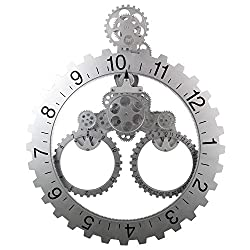 Smart 3D Gear Clock Mechanical Style, 26 x 22 Large Sized Quartz Movement, Decorative with Premium Plastic Moving Clock for Office, Home, Kitchen, Bar, Modern Living Room Dec (Silver Sawtooth Wheel)