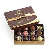 godiva chocolatier signature truffles gift box, classic gold ribbon, 12 pieces