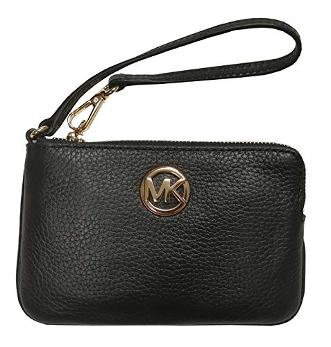 Michael Kors Fulton Medium Top Zip Wristlet Leather Black