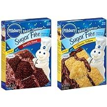 Pillsbury Sugar Free Cake Mix Value Bundle - 1 Box Sugar Free Devil's Food Cake & 1 Box Sugar Free Classic Yellow Cake by Pillsbury