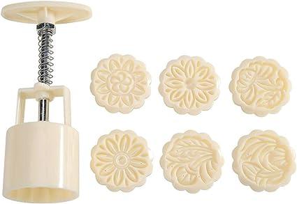 prosperveilUK 3D Mondkuchen Form 50g mit 6 Ausstechformen Mooncake Mould Pr