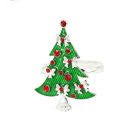 Christmas Tree Napkin Rings.Amazon Com 6pcs Green Christmas Tree Napkin Rings Golden